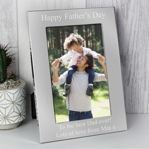 Personalised 4x6 Silver Photo Frame Gift Idea For Dad Daddy Fathers Day